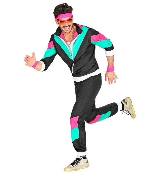 Adults Mens 80s Shell Suit Black/Blue 80s 90s Club Party Fancy Dress Costume
